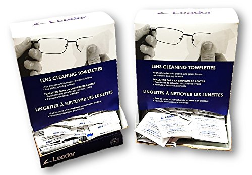 Leader Lens Cleaning Towelettes - 2 Dispensers, 200 Anti-Fog Wipes Total
