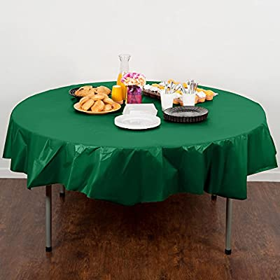 Creative Converting Touch of Color 82-inch Round Plastic Table Cover , Emerald Green (Pack of 2) by Creative Converting