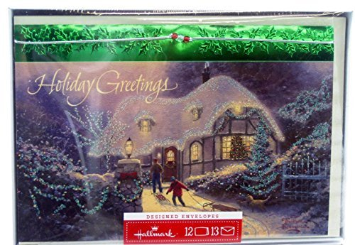 Hallmark Christmas Boxed Cards PX4657 Thomas Kinkade - Holiday Greetings Snow Covered Cottage (Greetings Snow)