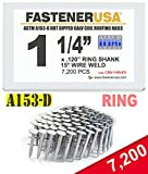 "1 1/4"" Ring A153-D HOT DIP Coil Roofing Nails"