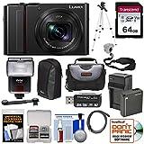 Panasonic Lumix DC-ZS200 4K Wi-Fi Digital Camera (Black) with 64GB Card + Battery & Charger + 2 Cases + Flash + Tripod + Kit