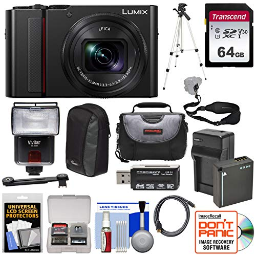 Cheap Panasonic Lumix DC-ZS200 4K Wi-Fi Digital Camera (Black) with 64GB Card + Battery & Charger + 2 Cases + Flash + Tripod + Kit