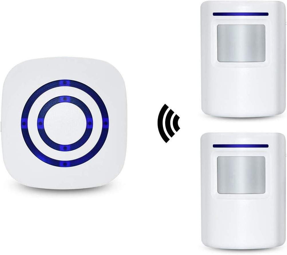 Alarma de seguridad, HausFine Inalámbrico Timbre de Alarma para la Puerta con Sensor de Movimiento PIR Infrarrojo Detector de Timbre del Sensor Ideal para Tiendas Mercados y Familias (1 + 2)