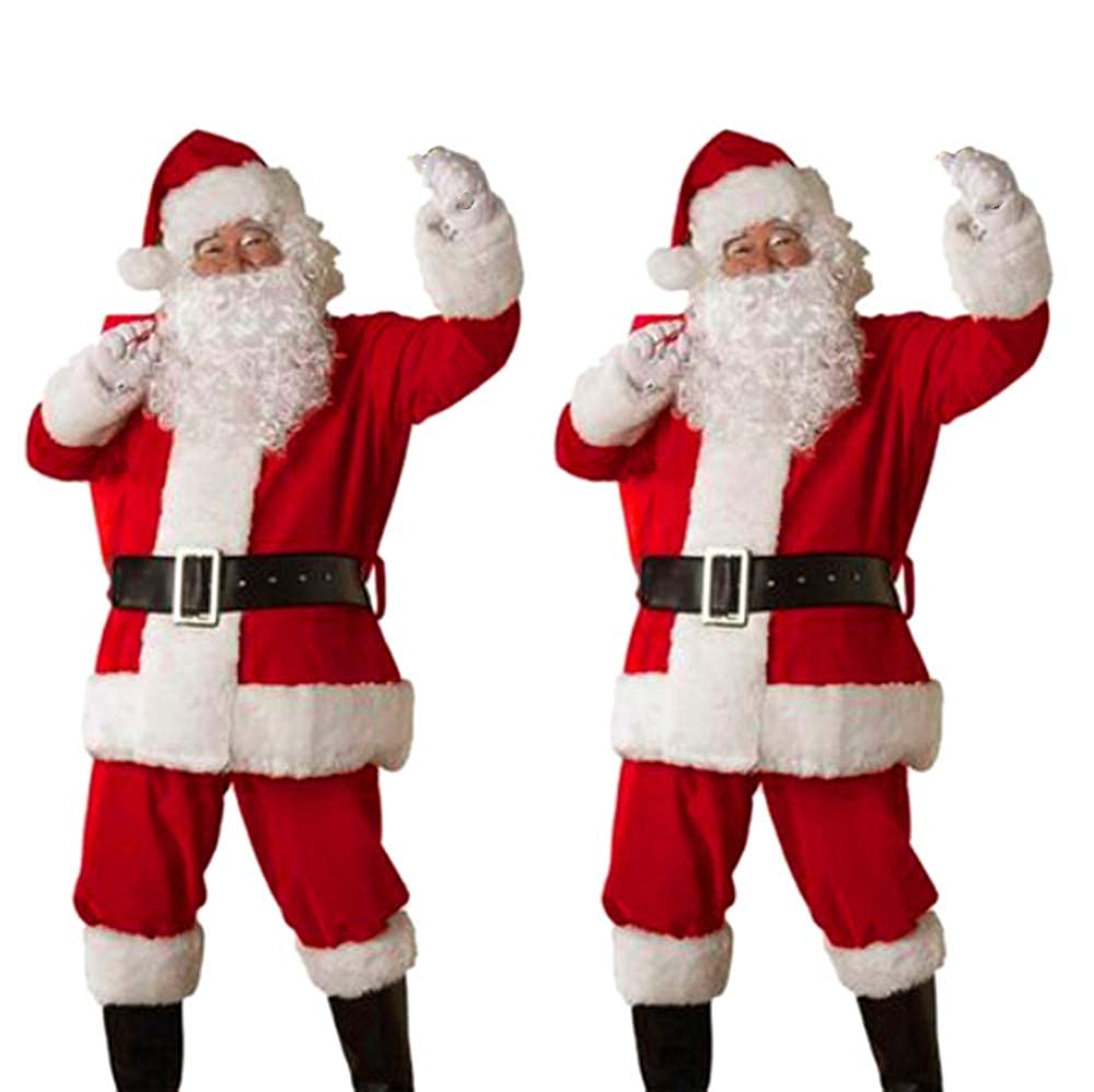 Doingshop Santa Suit Super Deluxe Adult Costume Men Christmas Outfit Hat Moustache Jacket Trousers Belt Beard