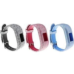 3pcs Large ECSEM Bands Compatible with Garmin Vivofit JR/Vivofit JR.2/ Vivofit 3 Replacement Patterning Soft Silicone Wristbands Watch Straps, Clouds Black, Red, Blue