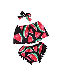 Sumen Toddler Baby Girl Watermelon Kid Tops Shorts Pant Outfits Sunsuit Clothes