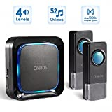 Wireless Doorbells Kit Cinbos Wireless Doorbell for Home LED Light with 1 Receiver and 2 Remote Push Buttons Waterproof,1000 Feet Long Range, 52 Chimes, 4 Levels Volume (B21-2T1-B)