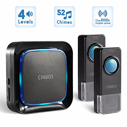 Wireless Doorbells Kit Cinbos Wireless Doorbell for Home LED Light with 1 Receiver and 2 Remote Push Buttons Waterproof,1000 Feet Long Range, 52 Chimes, 4 Levels Volume (B21-2T1-B) ()