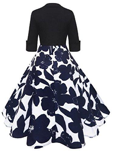 Dress Party Sleeve Print Half Style As Comfy Flower Audrey Women Picture Hepburn wqx8zn