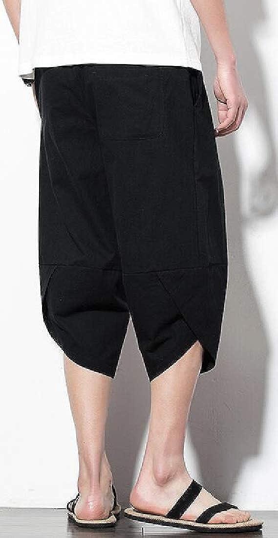 UUYUK Men Capri Pants Elastic Waist Casual Cotton Linen Solid Beach Shorts Boardshort Swim Trunk