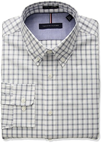 Multi Check Shirt - Tommy Hilfiger Men's Non Iron Slim Fit Multi Check Dress Shirt, Green, 16