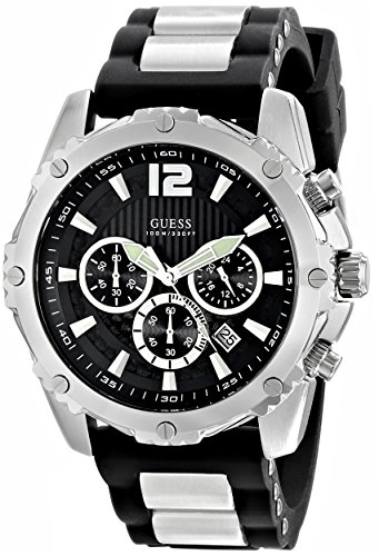 GUESS Men's U0167G1 Sporty Silicone & Metal Silver-Tone Chronograph Watch