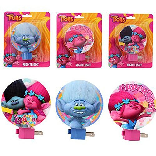 "6 pack - Trolls Dreamworks Night Light for party favor / party goodie bags, 3 different designs, For Entrance, Hallway, Bedroom - 4.5"" H"