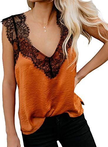 (Women's Casual Tank Tops Spaghetti Strap Cami Shirts Lace Trim Camisoles V Neck Sleeveless Blouses Orange XL)