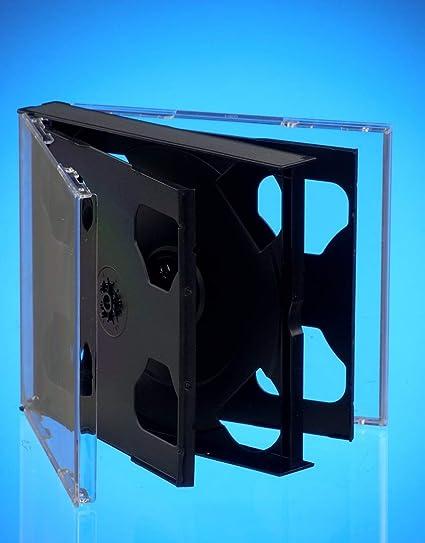 Vision Media® - Caja para CD y DVD (6 unidades, lomo de 25 mm, capacidad para 6 discos), color negro: Amazon.es: Electrónica