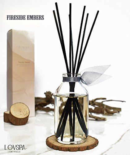 LOVSPA Romantic Smokey Fireside Embers Reed Diffuser Set by Includes a Wood Slice Coaster! Glowing Embers, Wood Smoke, Saffron Suede & Amber Cognac | A Masculine Scent | Gift for Dad or Husband! by LOVSPA (Image #3)