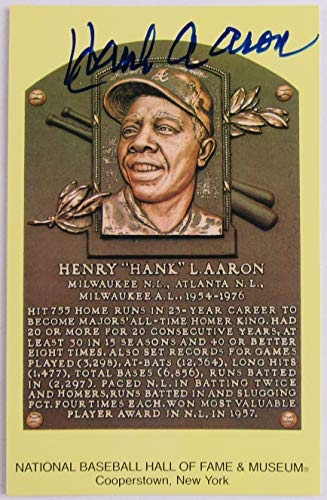 Hank Aaron Signed Auto Autograph Scenic Art HOF Plaque Postcard from JP's Sports/Rock Solid Promotions, Inc.