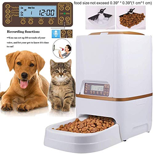 (SDTSDZS Pet Food Vending Machine with Voice Reminder and Vocal 4 Meal for Cats and Dogs (6L Dispenser, White))