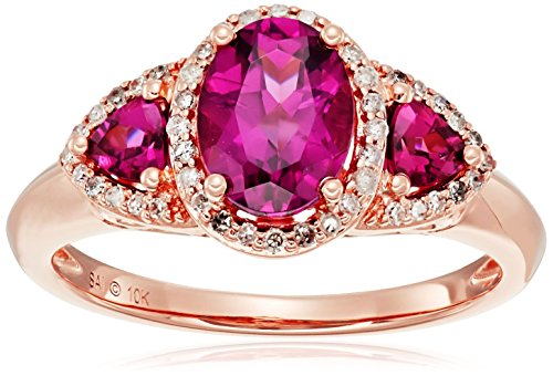 10k Pink Gold Rhodolite and Diamond 3-Stone Ring , Size 7