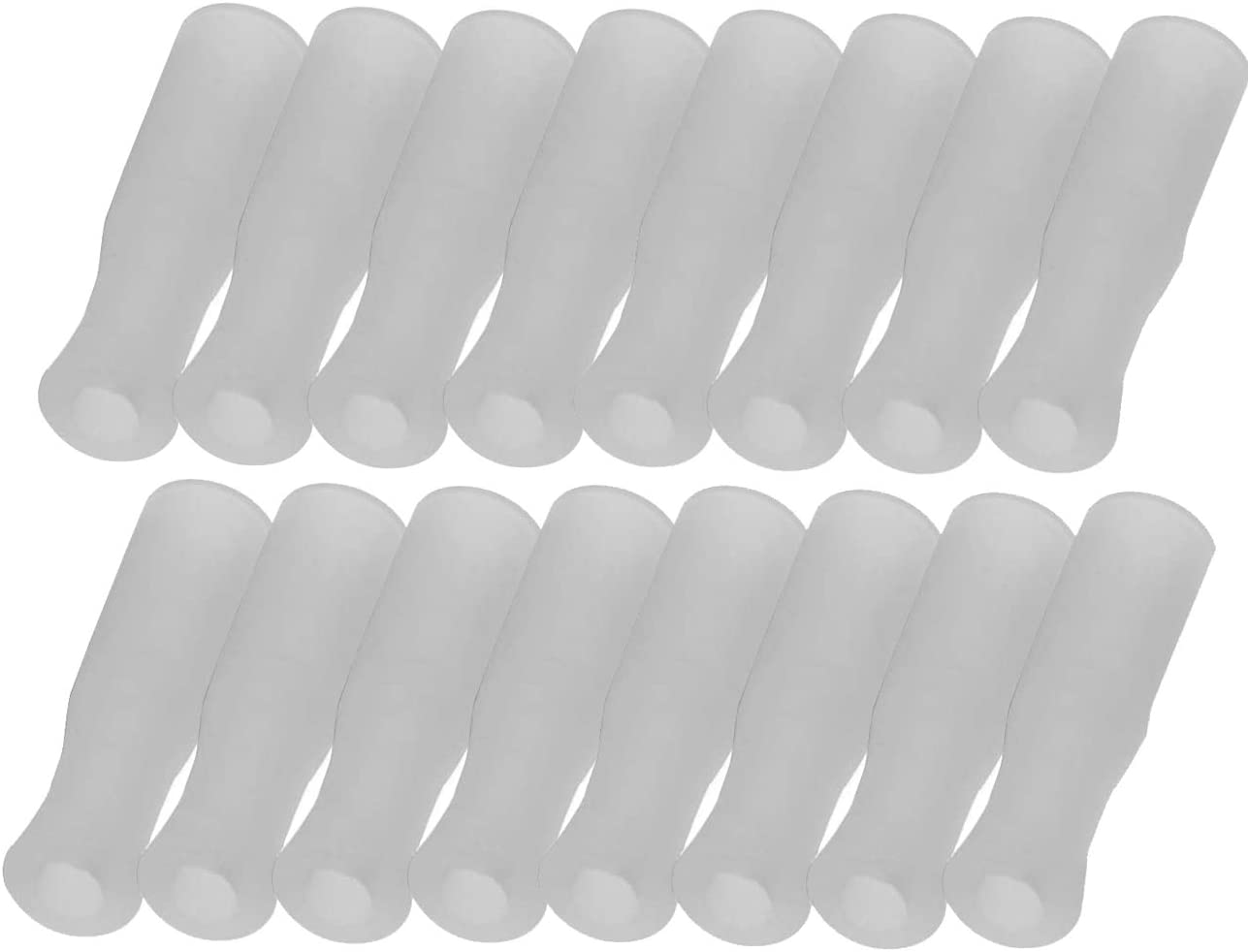 Mini Skater 16Pcs Silicone Straws Tips Food Grade Reusable Anti-Scald/Cold Straws Cover Fit for 1/4 Inch Wide(6mm Out diameter) Stainless Steel Straws (White)