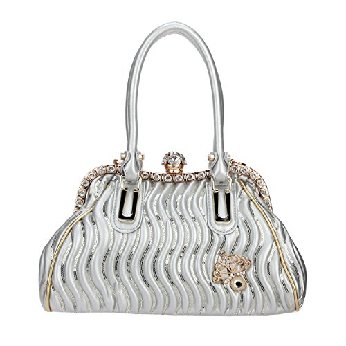 Butterfly Ball Spherical Bonjanvye For Crystal Silver Purse Women Bags And Pu Leather Hand 4x11HnCwq