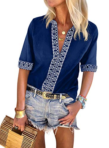 - LOSRLY Womens Boho Embroidered Petite T-Shirt Summer V Neck 3/4 Sleeve Tops Casual Blouses S Blue01