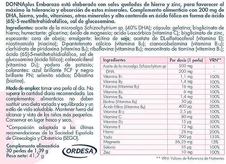 DonnaPlus Embarazo 30 perlas, Complemento alimenticio para el embarazo con DHA, hierro aminoquelado, yodo, vitaminas y minerales, alto contenido de ...