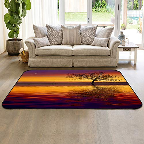 Area Rugs 5' x 7' Throw Carpet Floor Cover Nursery Rugs for Children/Kids, Majestic African Tree Lyric Moon Background Mystic Nature Dramatic Landscape,Indoor/Outdoor Rugs for Living Room/Bedroom ()