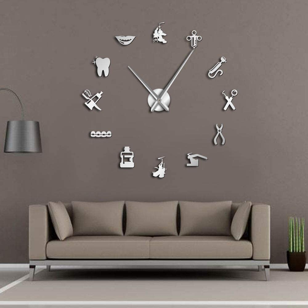 The Geeky Days Dentist Sign Giant DIY Large Wall Clock with Mirror Effect Wall Art Home Décor Frameless Big Time Clock Watch(Silver)