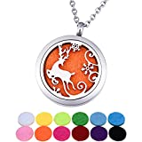 QX Essential Oil Diffuser Necklace Stainless Steel Reindeer Snow Aromatherapy Locket Pendant Jewelry Teen Girls Gifts - Round 30mm