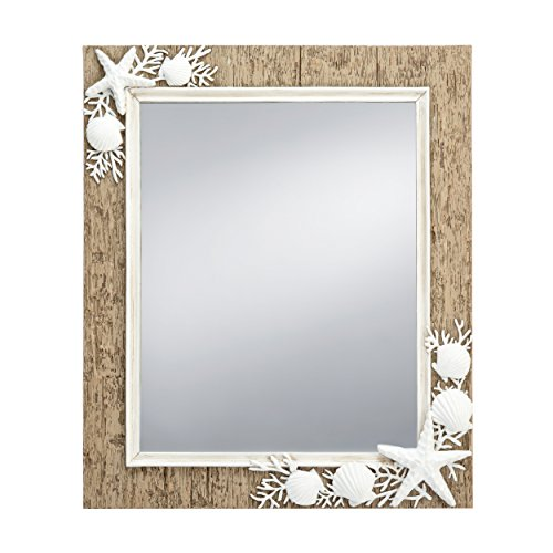 Prinz 10 X 13 Inch Sandpiper Mirror with Resin border In Natural Brown with White Shells & STARFISH Accents (Mirror White Border)