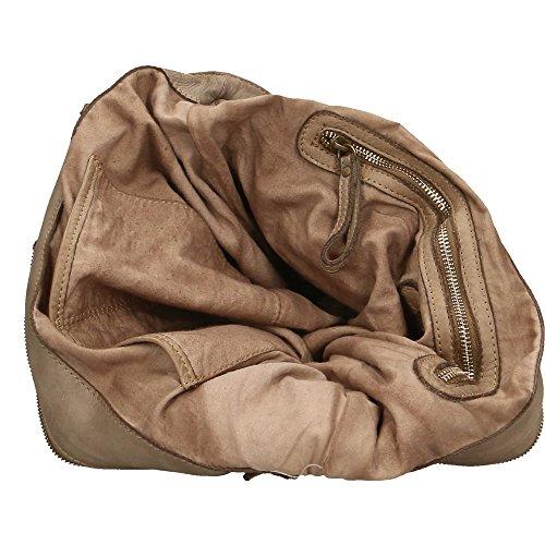 Bolso de mujer Chicca Borse Vintage en Piel Genuina Trenzado Made in Italy 36x27x13 Cm Barro