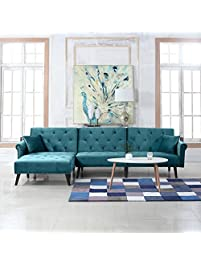 Mid Century Modern Style Velvet Sleeper Futon Sofa Living Room L Shape Sectional Couch With