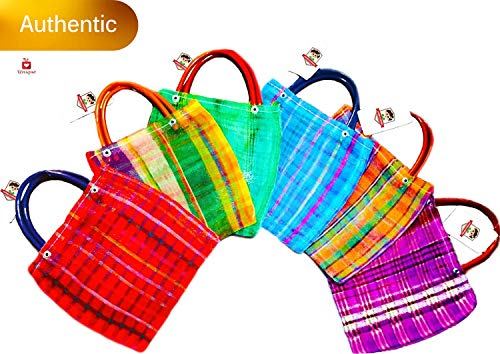 Alondra's Imports️ New (TM) Uniquely Designed, Mini Mexican Tote Favor Bags (Mexican Candy Bags - Mexican Mercado Bags - Mexican Mesh Bags - Bolsas Para Fiestas) 10 x 7 - Multi-Colored (24 Pack)