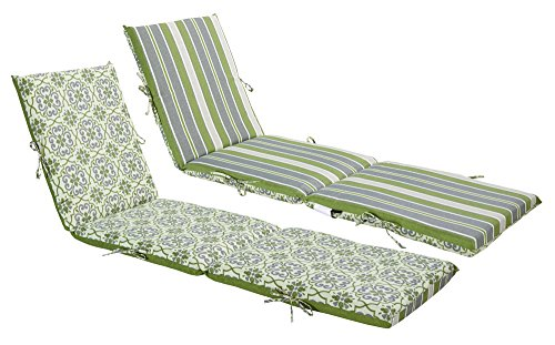 - Bossima Indoor/Outdoor Green/Grey Damask/Striped Chaise Lounge Cushion,Spring/Summer Seasonal Replacement Cushions.
