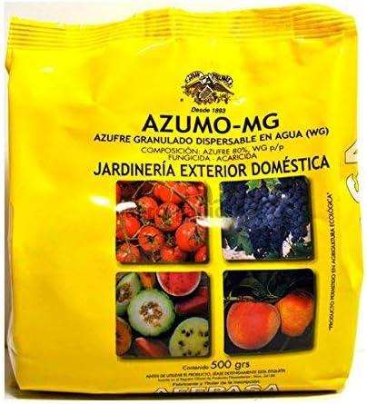 AZUMO MG - Azufre 80% WG Granulado Dispersable en Agua en Polvo para Huerta y Jardinería Doméstica Autorizado Agricultura Ecológica - 500g