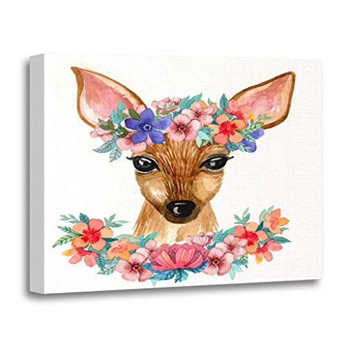 Emvency Painting Canvas Print Wooden Frame Artwork Watercolor Nice Little Deer and Flowers The Portrait Head of Forest Animal Decorative 12x16 Inches Wall Art for Home Decor - Flower Portrait