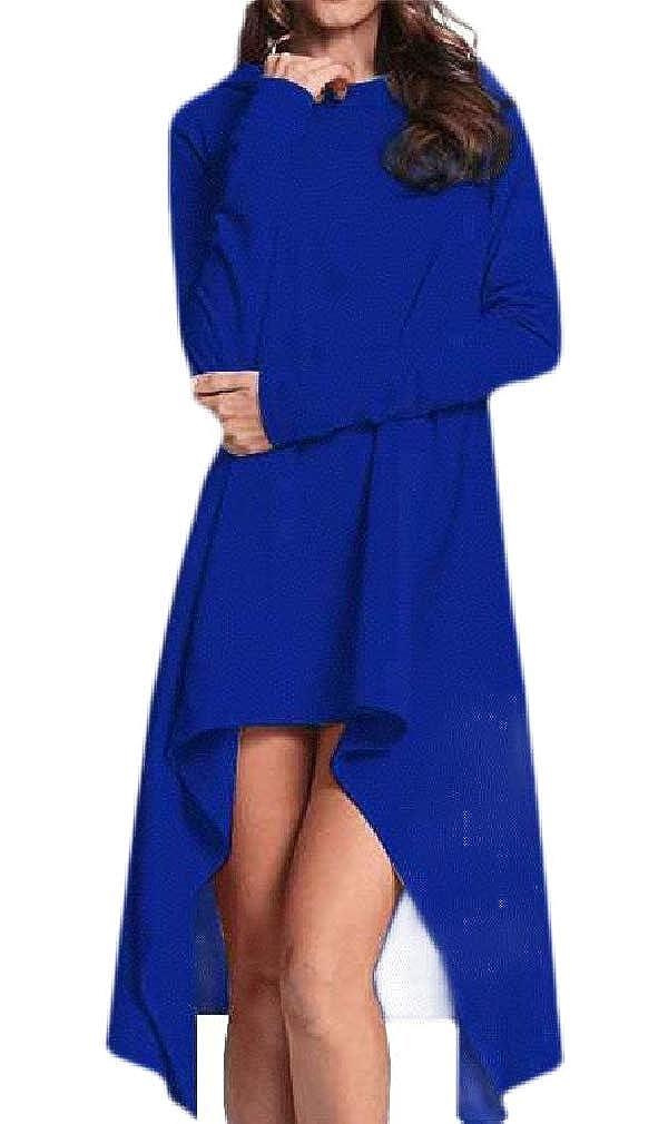 Hajotrawa Women Casual Long Sleeve Irregular Midi Pullover Hooded Sweatshirts