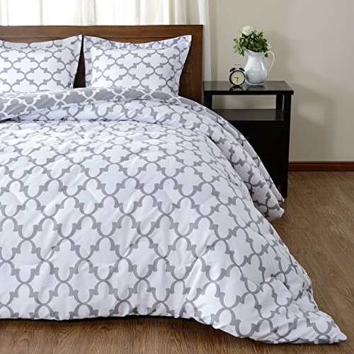 downluxe stream-lined Printed Comforter Set (King,Grey)