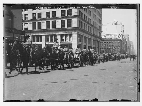 HistoricalFindings Photo: 1st Battery,in carts,on horse-back,going to war game, York,NY,August 1909 (Battery Print Cart)