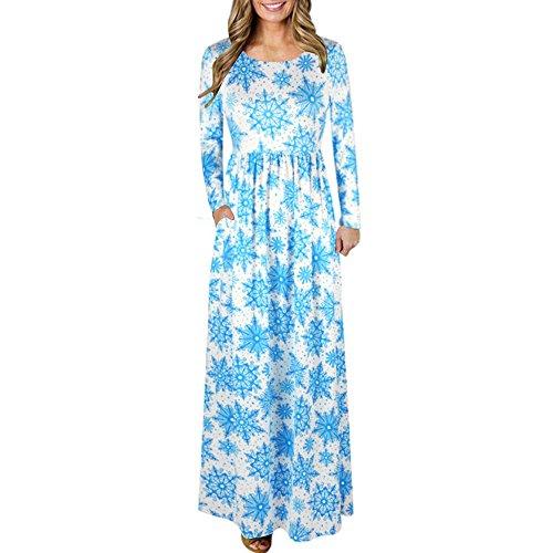 Maxi Buggy - ANJUNIE Women Maxi Skirt, Print Bohemian Dress Women Christmas Long Sleeve Flared Party Dress(3-Blue ,XL)