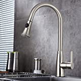 Bazal Kitchen Sink Faucet Best Commercial Single Handle Pull Down Sprayer Kitchen Faucet, Pull Out Kitchen Bathroom Faucets Brushed Nickel, Lead-free cUPC Lavatory Faucet