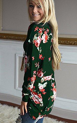 Minetom Mujeres Cárdigan Moda Manga Larga Casual Suelto Boho Estampado Floral Kimono Cardigan Tops Cubrir la Blusa Verde