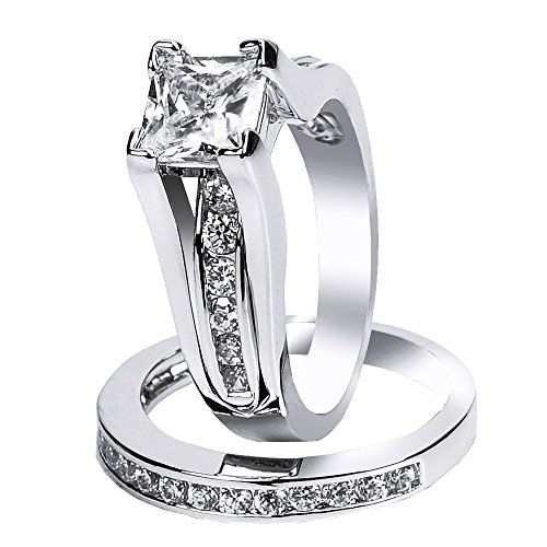 925 Solid Sterling Silver Cubic Zirconia Bridal Princess Cut Wedding Band Engagement Ring Set for Women