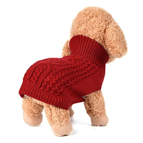 Mikey Store Pet Dog Sweater for Small Dogs Puppies (Red, M)