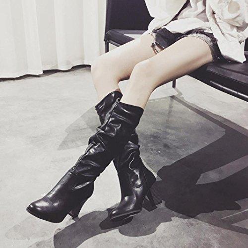 High Heel Stiefel für Frauen, cinnamou Winter Herbst Plüsch Stiefel - Rough Ferse knielangen Schuhe - Wild Outdoor Kampfstiefel (38, Grau) Schwarz