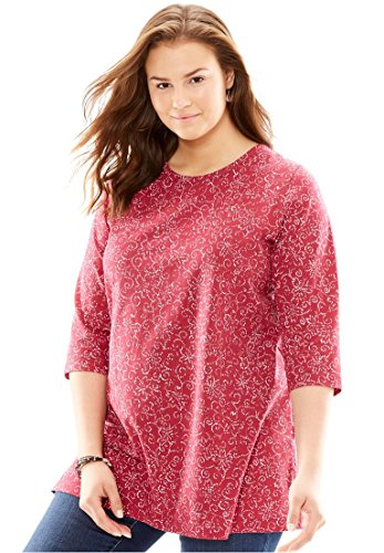 Womens Plus Size Perfect Print Knit Tunic Shirt In Pure Cotton With Scoop Neck