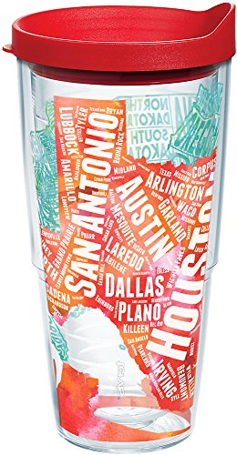 (Tervis 1225099 Texas Typography Map Tumbler with Wrap and Red Lid 24oz, Clear)