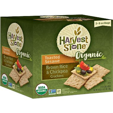 Harvest Stone Organic Crackers, Brown Rice and Chickpea, Toasted Sesame 9 oz, 2 pk. (pack of 4) A1 by Harvest Stone