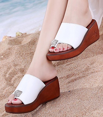Piscine Bout Orteil Femme Chic Blanc Mules Strass Ouvert Aisun 1Y6TqE